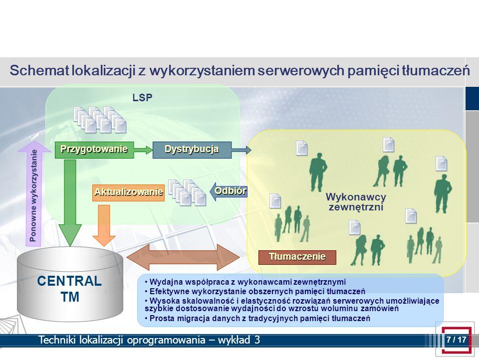 8 8 / 17 Techniki lokalizacji oprogramowania – wykład 3 Plusy wykorzystania serwera pamięci w procesie lokalizacji Udostępnianie pamięci tłumaczeń przez sieć Internet wykonawcom zewnętrznym zapewnia zachowanie spójności stylu tłumaczeń Brak występowania awarii pamięci tłumaczeń – stabilna platforma do wykonywania obszernych zleceń Równoległe przetwarzanie oraz interaktywne tłumaczenia dokumentów – tłumacze pracujący na miejscu oraz zdalnie korzystają w tym samym czasie z jednej pamięci tłumaczeń Importowanie i eksportowanie danych pamięci tłumaczeń możliwe jest w tym samym czasie gdy inni użytkownicy pracują Brak reorganizacji pamięci tłumaczeń – optymalizacja dostępu do danych wykonywana na poziomie serwera bazy danych przechowującego dane pamięci tłumaczeń Wzrost efektywności zarządzania projektami lokalizacyjnymi