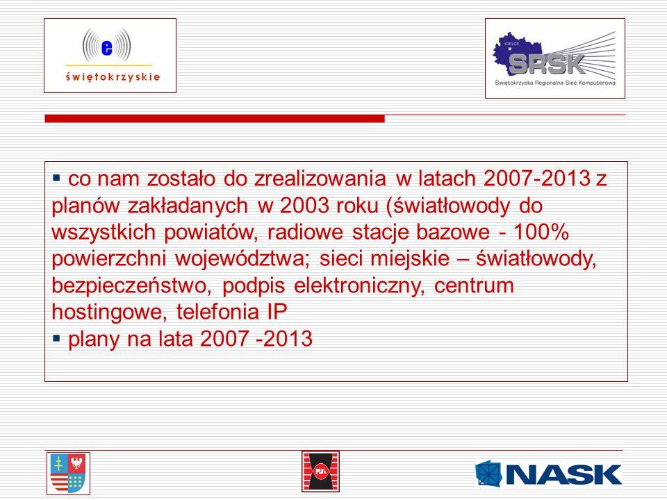 co nam zostało do zrealizowania w latach 2007-2013 z planów zakładanych w 2003 roku (światłowody do wszystkich powiatów, radiowe stacje bazowe - 100%