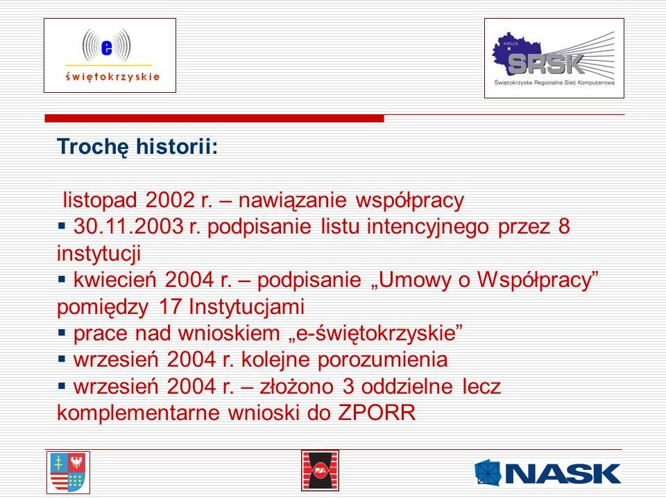 Trochę historii: listopad 2002 r. – nawiązanie współpracy 30.11.2003 r. podpisanie listu intencyjnego przez 8 instytucji kwiecień 2004 r. – podpisanie