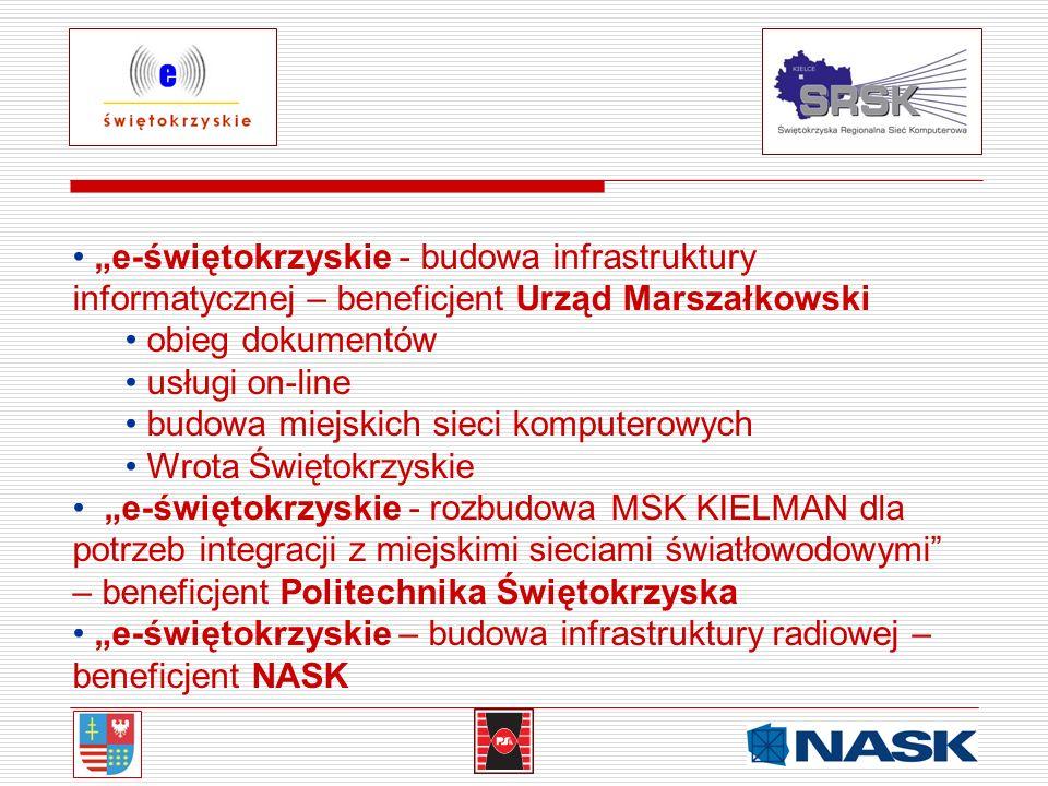 e-świętokrzyskie - budowa infrastruktury informatycznej – beneficjent Urząd Marszałkowski obieg dokumentów usługi on-line budowa miejskich sieci kompu