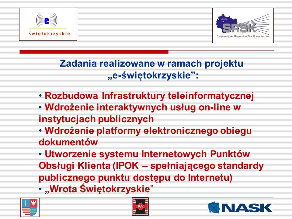 Zadania realizowane w ramach projektu e-świętokrzyskie: Rozbudowa Infrastruktury teleinformatycznej Wdrożenie interaktywnych usług on-line w instytucj