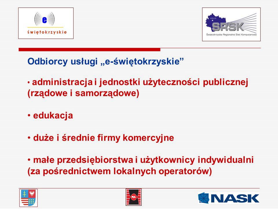 Odbiorcy usługi e-świętokrzyskie administracja i jednostki użyteczności publicznej (rządowe i samorządowe) edukacja duże i średnie firmy komercyjne ma