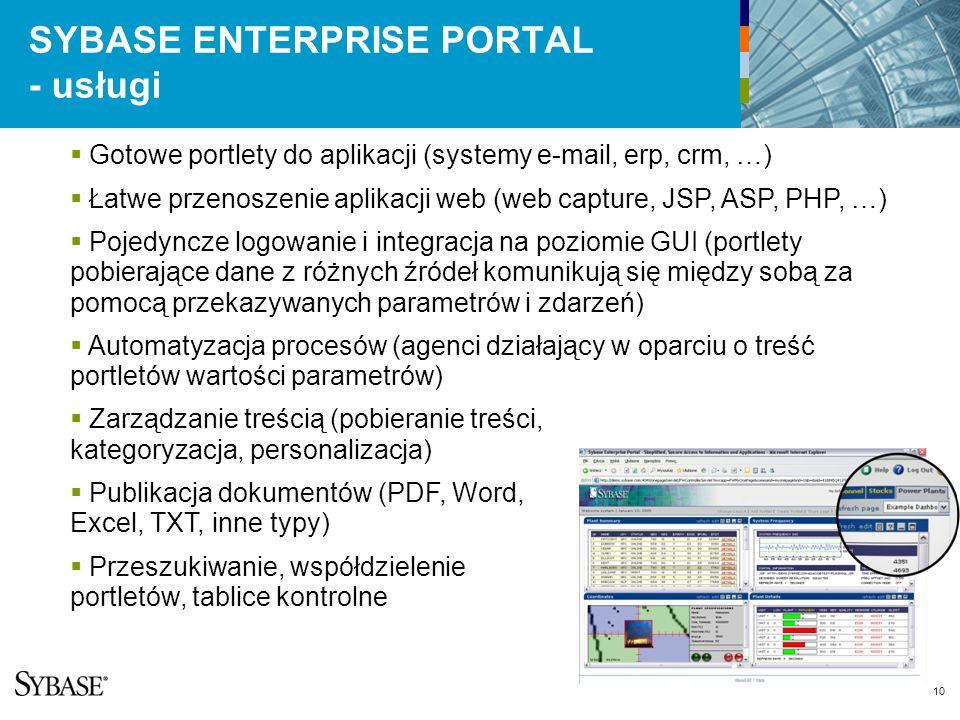 10 SYBASE ENTERPRISE PORTAL - usługi Gotowe portlety do aplikacji (systemy e-mail, erp, crm, …) Łatwe przenoszenie aplikacji web (web capture, JSP, ASP, PHP, …) Pojedyncze logowanie i integracja na poziomie GUI (portlety pobierające dane z różnych źródeł komunikują się między sobą za pomocą przekazywanych parametrów i zdarzeń) Automatyzacja procesów (agenci działający w oparciu o treść portletów wartości parametrów) Zarządzanie treścią (pobieranie treści, kategoryzacja, personalizacja) Publikacja dokumentów (PDF, Word, Excel, TXT, inne typy) Przeszukiwanie, współdzielenie portletów, tablice kontrolne