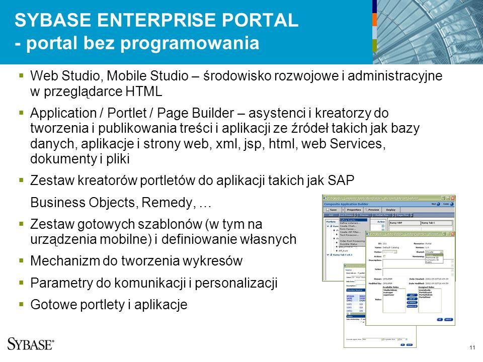 11 SYBASE ENTERPRISE PORTAL - portal bez programowania Web Studio, Mobile Studio – środowisko rozwojowe i administracyjne w przeglądarce HTML Application / Portlet / Page Builder – asystenci i kreatorzy do tworzenia i publikowania treści i aplikacji ze źródeł takich jak bazy danych, aplikacje i strony web, xml, jsp, html, web Services, dokumenty i pliki Zestaw kreatorów portletów do aplikacji takich jak SAP Business Objects, Remedy, … Zestaw gotowych szablonów (w tym na urządzenia mobilne) i definiowanie własnych Mechanizm do tworzenia wykresów Parametry do komunikacji i personalizacji Gotowe portlety i aplikacje