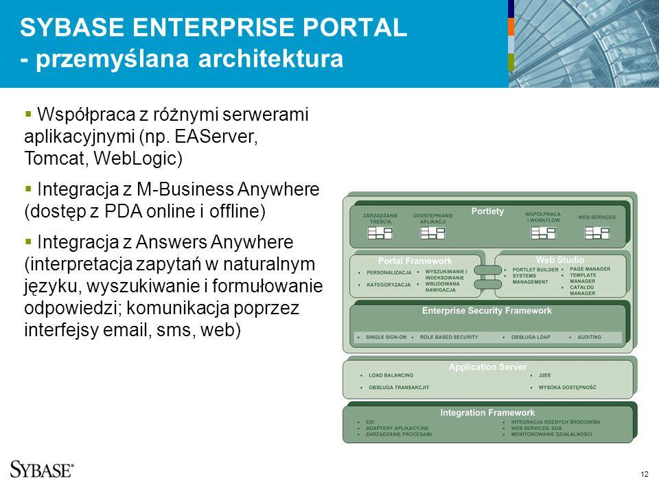 12 SYBASE ENTERPRISE PORTAL - przemyślana architektura Współpraca z różnymi serwerami aplikacyjnymi (np.