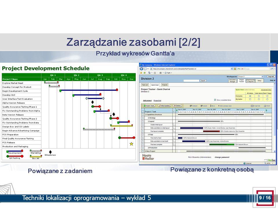 9 9 / 16 Techniki lokalizacji oprogramowania – wykład 5 Zarządzanie zasobami [2/2] Przykład wykresów Ganttaa Powiązane z zadaniem Powiązane z konkretn
