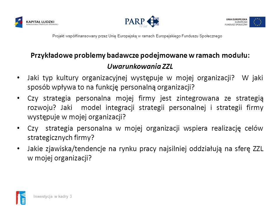 Projekt współfinansowany przez Unię Europejską w ramach Europejskiego Funduszu Społecznego Inwestycja w kadry 3 Przykładowe problemy badawcze podejmowane w ramach modułu: Uwarunkowania ZZL Jaki typ kultury organizacyjnej występuje w mojej organizacji.