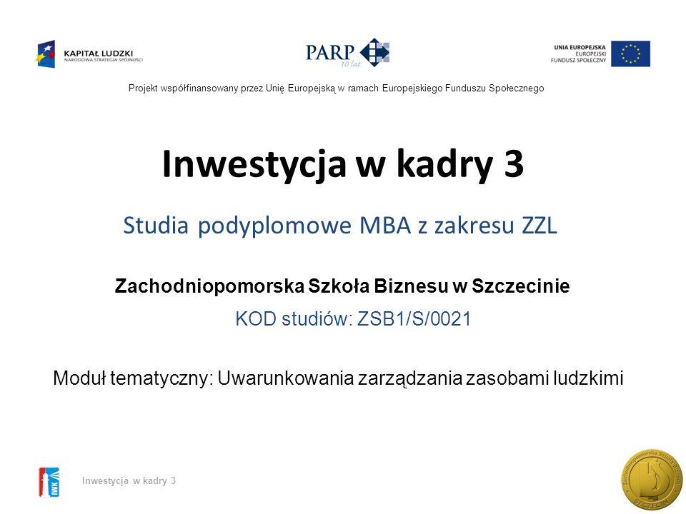 Projekt współfinansowany przez Unię Europejską w ramach Europejskiego Funduszu Społecznego Inwestycja w kadry 3 Rynek pracy – analiza sytuacji Przegląd podstawowych wskaźników rynku pracy