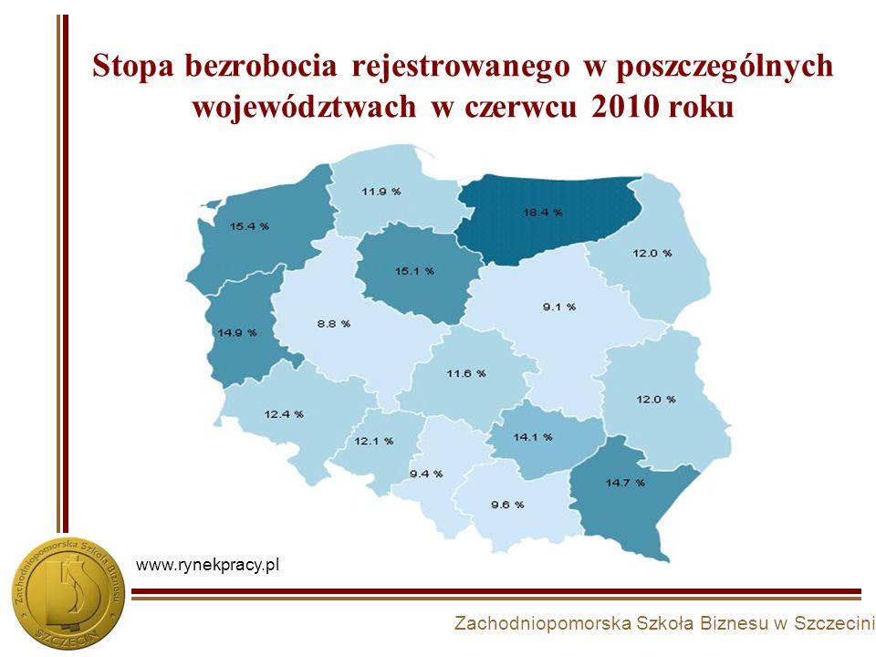 Stopa bezrobocia rejestrowanego w poszczególnych województwach w czerwcu 2010 roku www.rynekpracy.pl