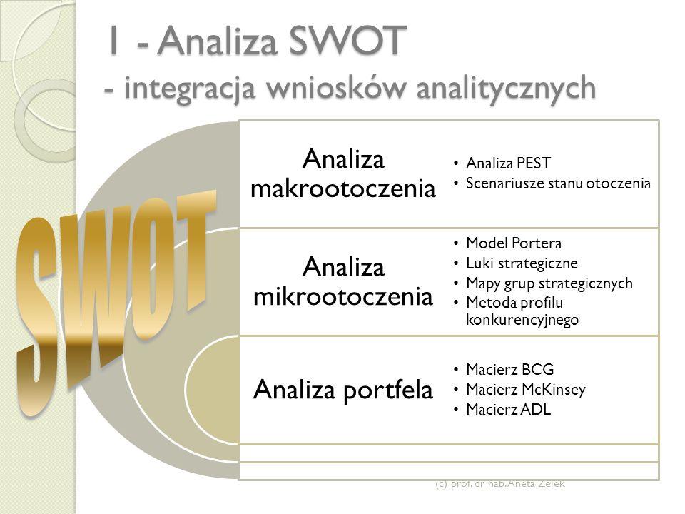 1 - Analiza SWOT - integracja wniosków analitycznych (c) prof.