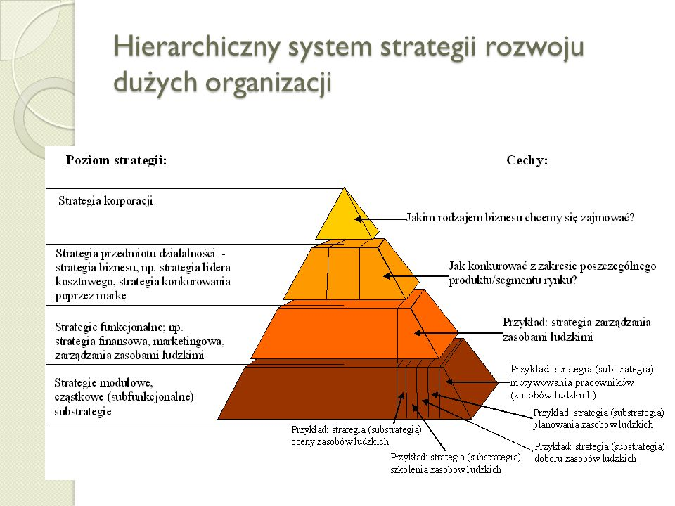 Strategia w dużej i małej firmie Poziomy strategii w firmie wielobiznesowej Poziomy strategii w firmie jednobiznesowej