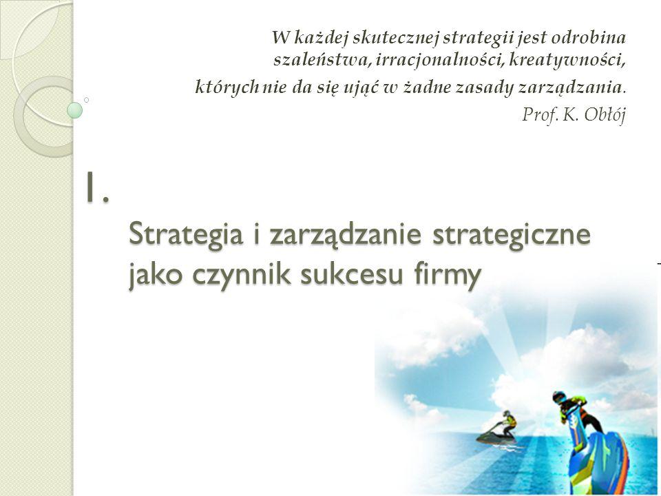 Program WYKŁADU 1. Strategia i zarządzanie strategiczne jako czynnik sukcesu firmy 2. Poziomy zarządzania strategicznego 3. Etapy procesu zarządzania