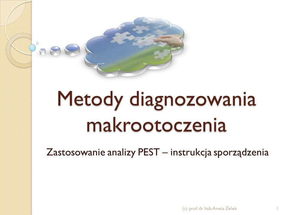 Metody diagnozowania makrootoczenia Zastosowanie analizy PEST – instrukcja sporządzenia 1(c) prof. dr hab. Aneta Zelek