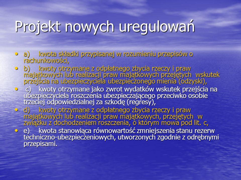 Projekt nowych uregulowań Rozszerzenie propozycji legislacyjnej Rozszerzenie propozycji legislacyjnej Art.