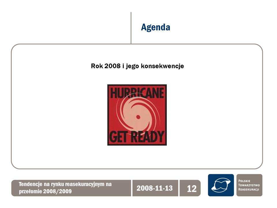 Agenda Tendencje na rynku reasekuracyjnym na przełomie 2008/2009 2008-11-13 12 Rok 2008 i jego konsekwencje