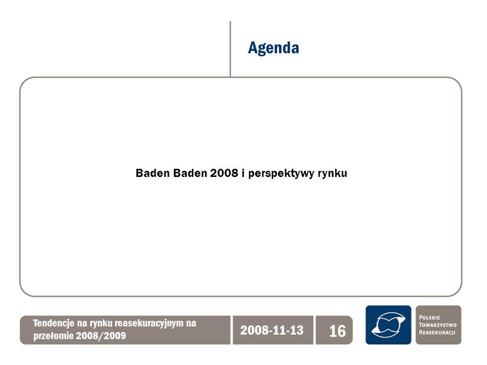 Agenda Tendencje na rynku reasekuracyjnym na przełomie 2008/2009 2008-11-13 16 Baden Baden 2008 i perspektywy rynku
