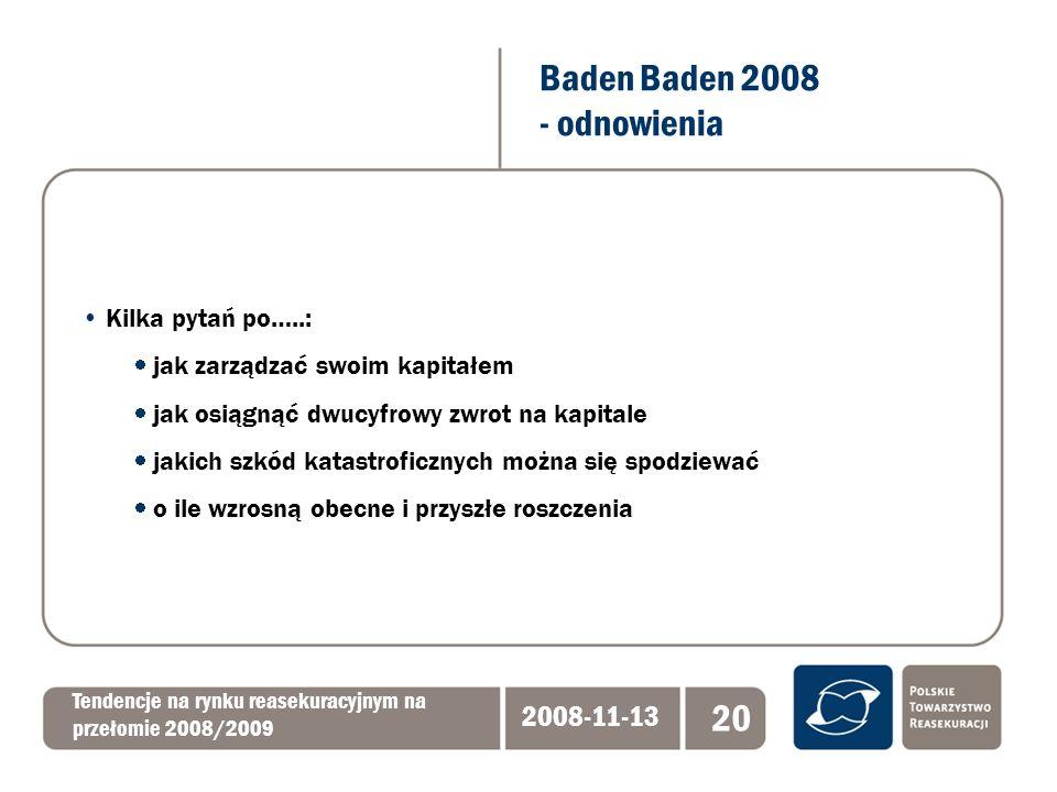 Baden Baden 2008 - odnowienia Tendencje na rynku reasekuracyjnym na przełomie 2008/2009 2008-11-13 20 Kilka pytań po…..: jak zarządzać swoim kapitałem