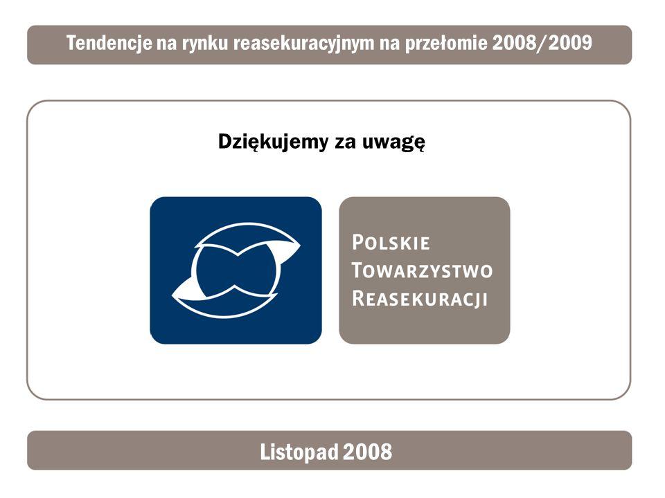 Tendencje na rynku reasekuracyjnym na przełomie 2008/2009 Listopad 2008 Dziękujemy za uwagę