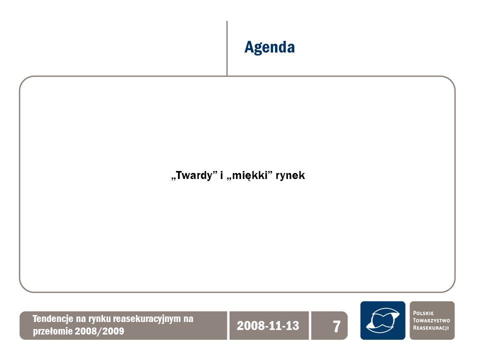 Baden Baden 2008 i perspektywy rynku Tendencje na rynku reasekuracyjnym na przełomie 2008/2009 2008-11-13 18 Wzrost cen reasekuracji – największy w: - ochronie katastrof naturalnych - OC o długim okresie rozwoju szkód - ubezpieczeniach gwarancji finansowych Bardzo ostrożny underwriting ze względu na: - dotychczasowy stały spadek taryf w ubezpieczeniach majątkowych - wzrost znaczenia zysku technicznego