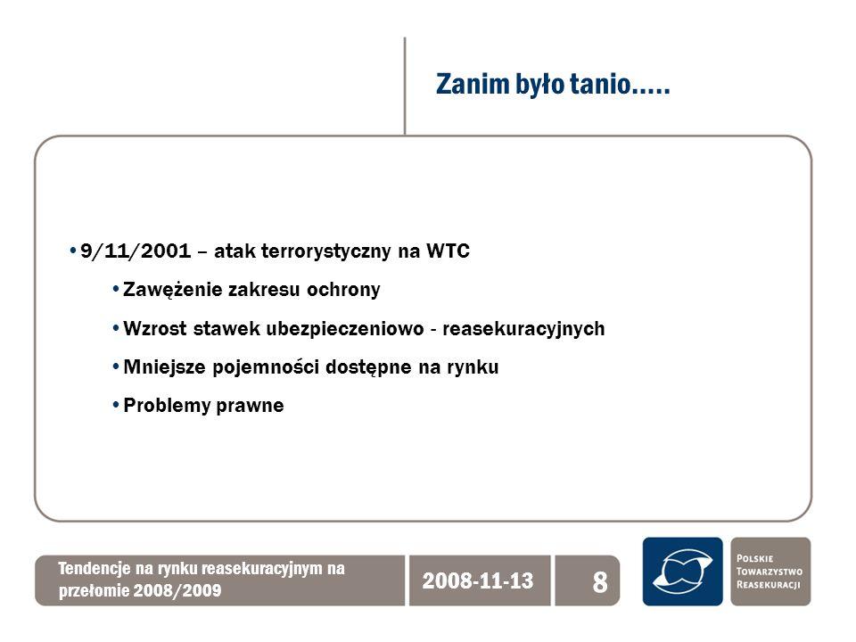 Baden Baden 2008 - odnowienia Tendencje na rynku reasekuracyjnym na przełomie 2008/2009 2008-11-13 19 Deklaracje liderów rynku: wzrost cen – zatrzymanie tendencji spadkowej mniejsze pojemności możliwe węższe zakresy późne odnowienia