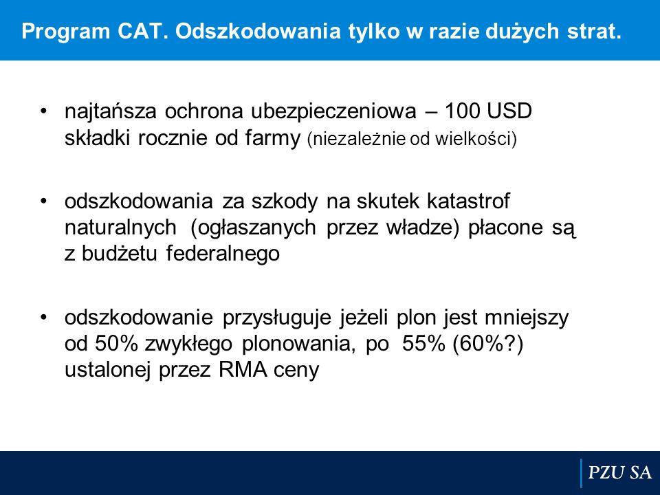Program CAT. Odszkodowania tylko w razie dużych strat. najtańsza ochrona ubezpieczeniowa – 100 USD składki rocznie od farmy (niezależnie od wielkości)
