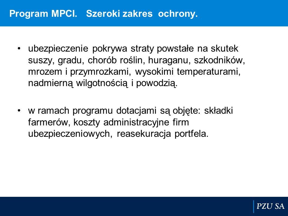 Program MPCI. Szeroki zakres ochrony. ubezpieczenie pokrywa straty powstałe na skutek suszy, gradu, chorób roślin, huraganu, szkodników, mrozem i przy