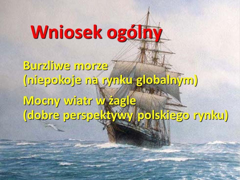 Burzliwe morze (niepokoje na rynku globalnym) Mocny wiatr w żagle (dobre perspektywy polskiego rynku) Wniosek ogólny