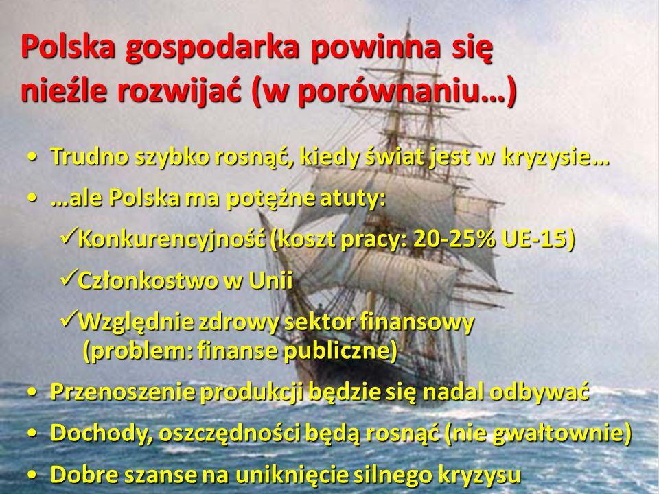 Polska gospodarka powinna się nieźle rozwijać (w porównaniu…) Trudno szybko rosnąć, kiedy świat jest w kryzysie… Trudno szybko rosnąć, kiedy świat jes