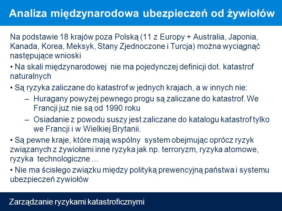 Zarządzanie ryzykami katastroficznymi Analiza międzynarodowa ubezpieczeń od żywiołów Na podstawie 18 krajów poza Polską (11 z Europy + Australia, Japonia, Kanada, Korea, Meksyk, Stany Zjednoczone i Turcja) można wyciągnąć następujące wnioski Na skali międzynarodowej nie ma pojedynczej definicji dot.