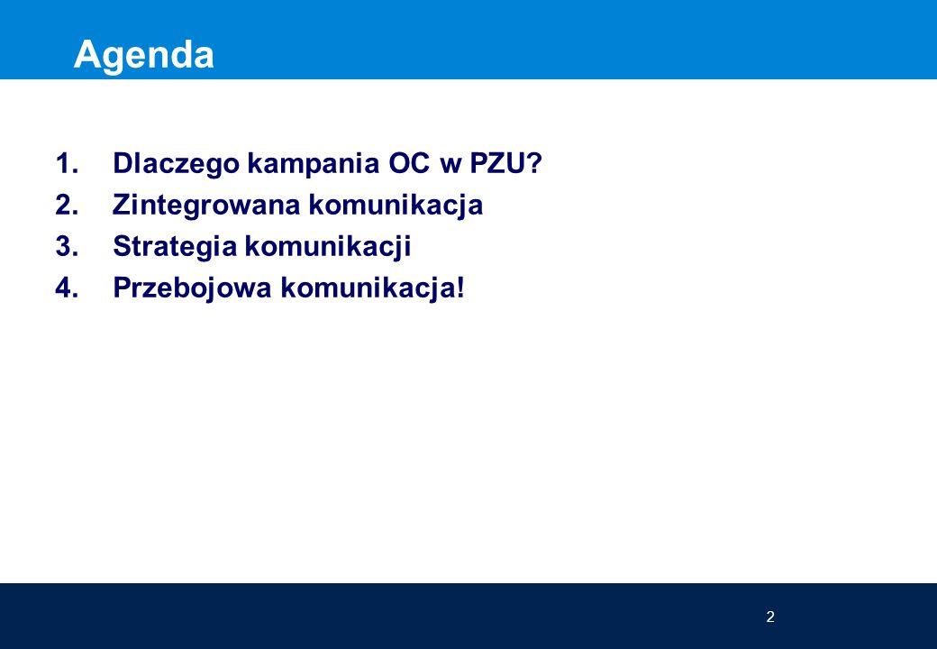 2 Agenda 1.Dlaczego kampania OC w PZU? 2.Zintegrowana komunikacja 3.Strategia komunikacji 4.Przebojowa komunikacja! Agenda