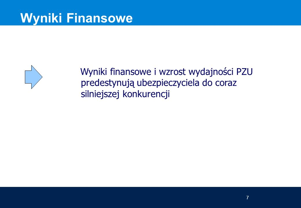 7 Wyniki Finansowe Wyniki finansowe i wzrost wydajności PZU predestynują ubezpieczyciela do coraz silniejszej konkurencji