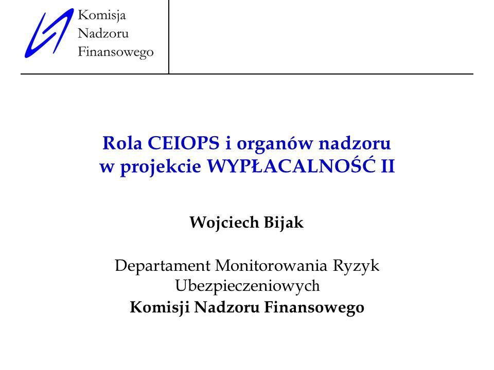 Rola CEIOPS i organów nadzoru w projekcie WYPŁACALNOŚĆ II Wojciech Bijak Departament Monitorowania Ryzyk Ubezpieczeniowyc h Komisji Nadzoru Finansoweg