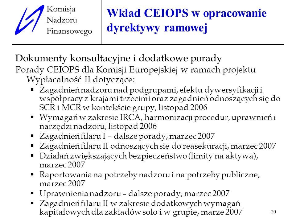 20 Wkład CEIOPS w opracowanie dyrektywy ramowej Dokumenty konsultacyjne i dodatkowe porady Porady CEIOPS dla Komisji Europejskiej w ramach projektu Wy