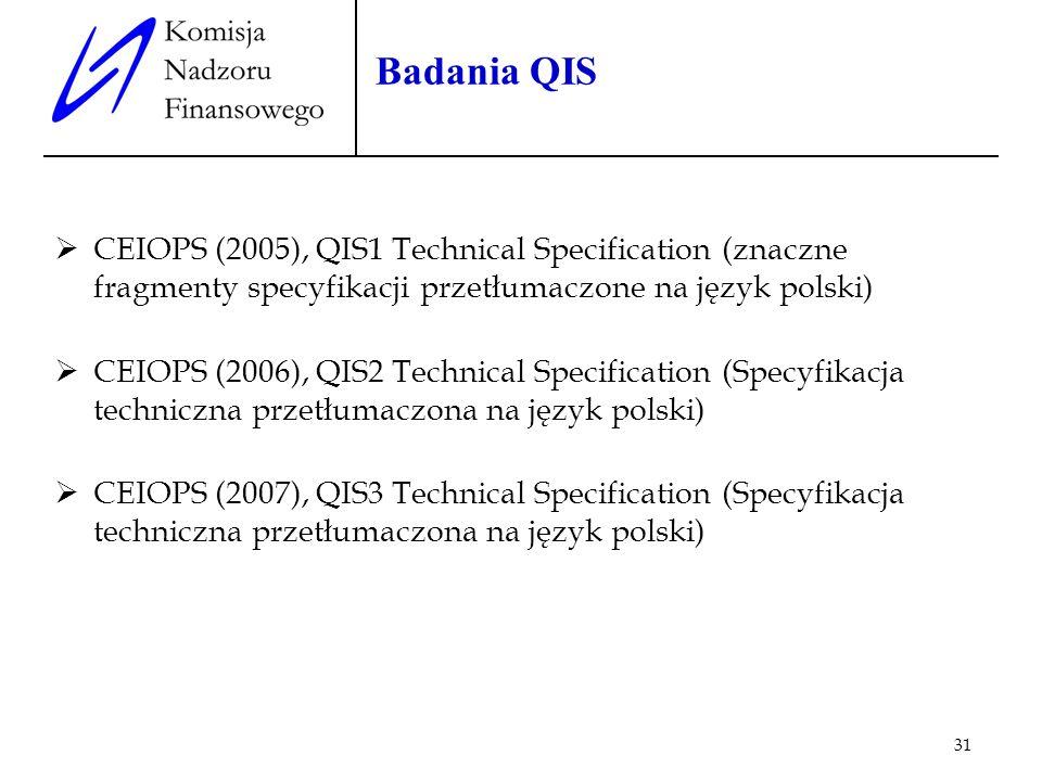 31 Badania QIS CEIOPS (2005), QIS1 Technical Specification (znaczne fragmenty specyfikacji przetłumaczone na język polski) CEIOPS (2006), QIS2 Technic