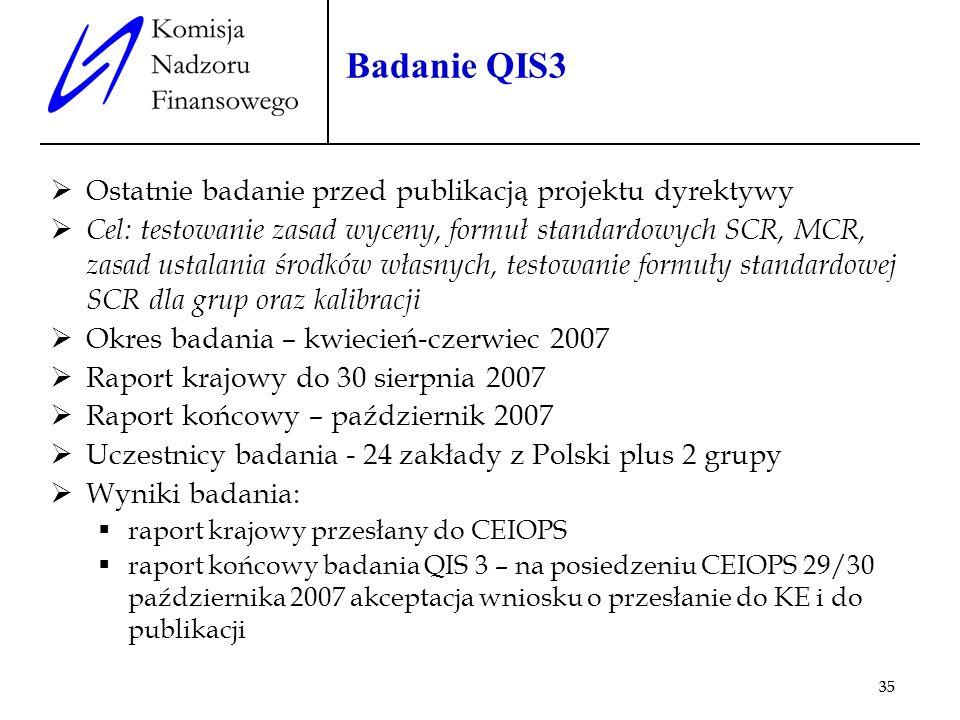 35 Badanie QIS3 Ostatnie badanie przed publikacją projektu dyrektywy Cel: testowanie zasad wyceny, formuł standardowych SCR, MCR, zasad ustalania środ