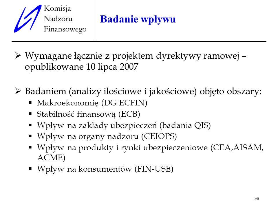 38 Badanie wpływu Wymagane łącznie z projektem dyrektywy ramowej – opublikowane 10 lipca 2007 Badaniem (analizy ilościowe i jakościowe) objęto obszary