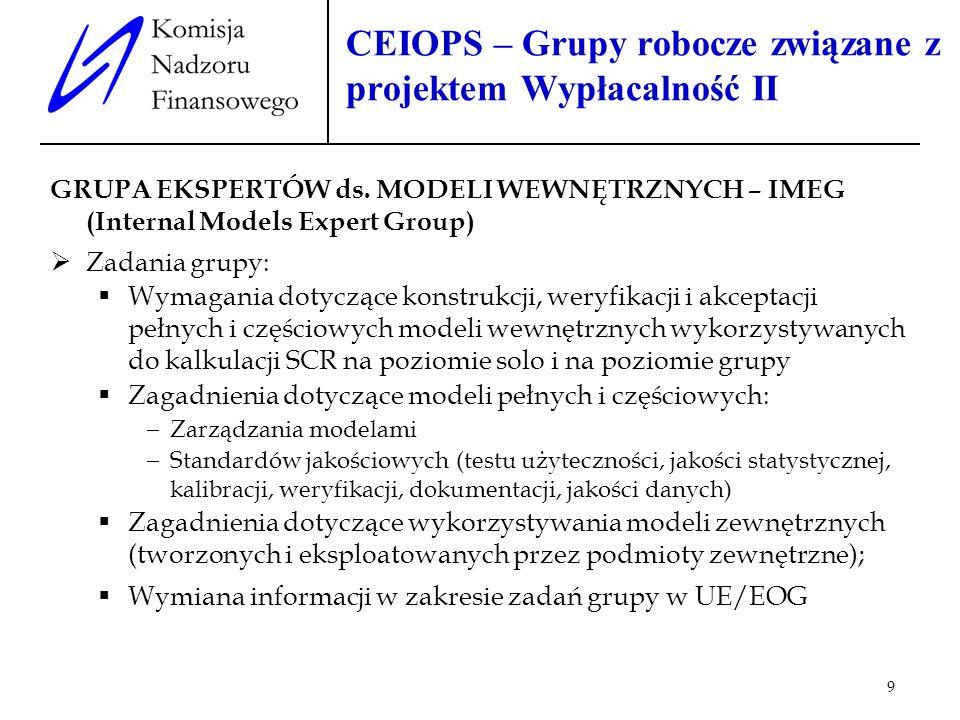9 CEIOPS – Grupy robocze związane z projektem Wypłacalność II GRUPA EKSPERTÓW ds. MODELI WEWNĘTRZNYCH – IMEG (Internal Models Expert Group) Zadania gr