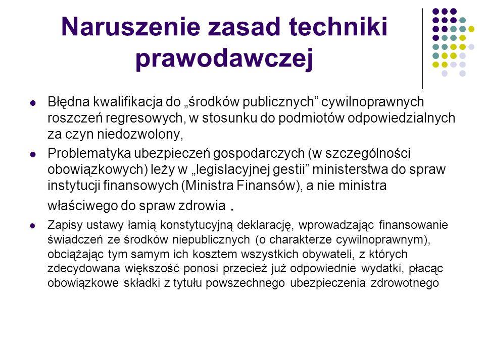 Naruszenie zasad techniki prawodawczej Błędna kwalifikacja do środków publicznych cywilnoprawnych roszczeń regresowych, w stosunku do podmiotów odpowi