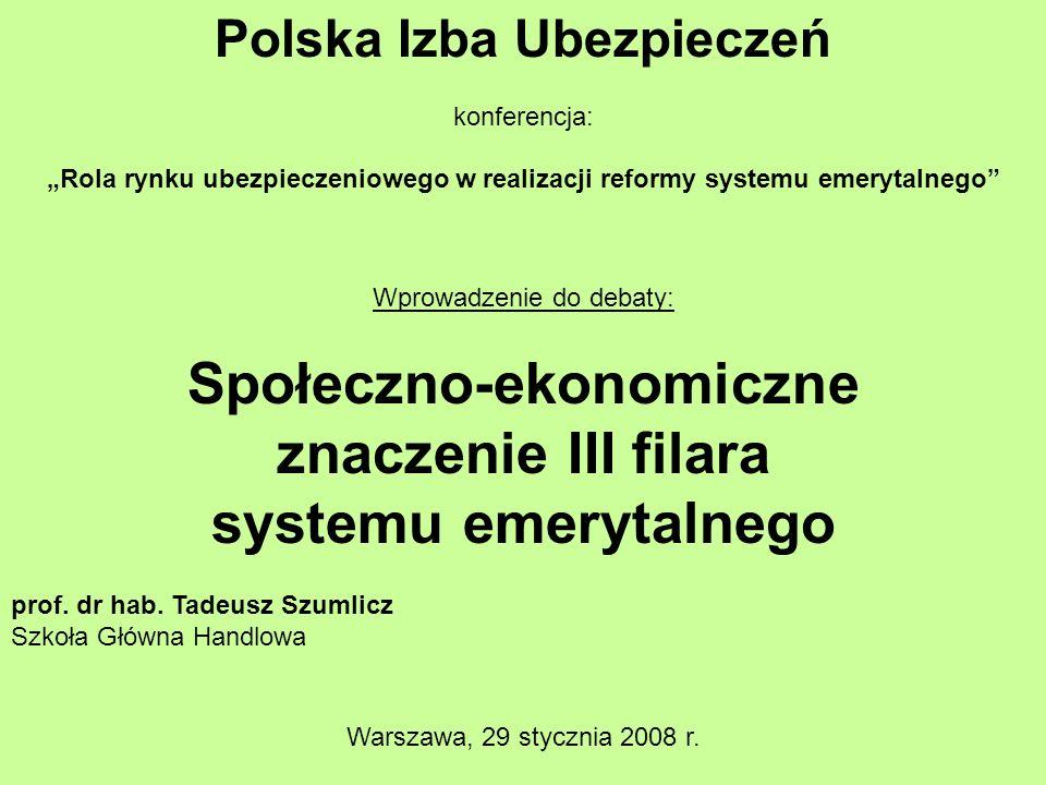 Polska Izba Ubezpieczeń konferencja: Rola rynku ubezpieczeniowego w realizacji reformy systemu emerytalnego Wprowadzenie do debaty: Społeczno-ekonomiczne znaczenie III filara systemu emerytalnego prof.