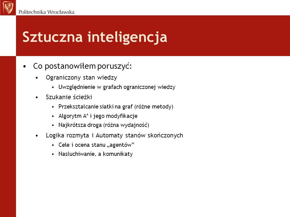 Sztuczna inteligencja Co postanowiłem poruszyć: Ograniczony stan wiedzy Uwzględnienie w grafach ograniczonej wiedzy Szukanie ścieżki Przekształcanie s