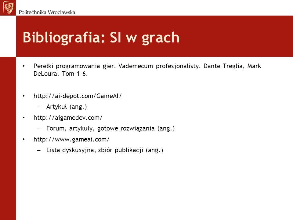 Bibliografia: SI w grach Perełki programowania gier. Vademecum profesjonalisty. Dante Treglia, Mark DeLoura. Tom 1-6. http://ai-depot.com/GameAI/ – Ar