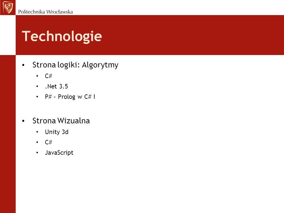 Technologie Strona logiki: Algorytmy C#.Net 3.5 P# - Prolog w C# ! Strona Wizualna Unity 3d C# JavaScript