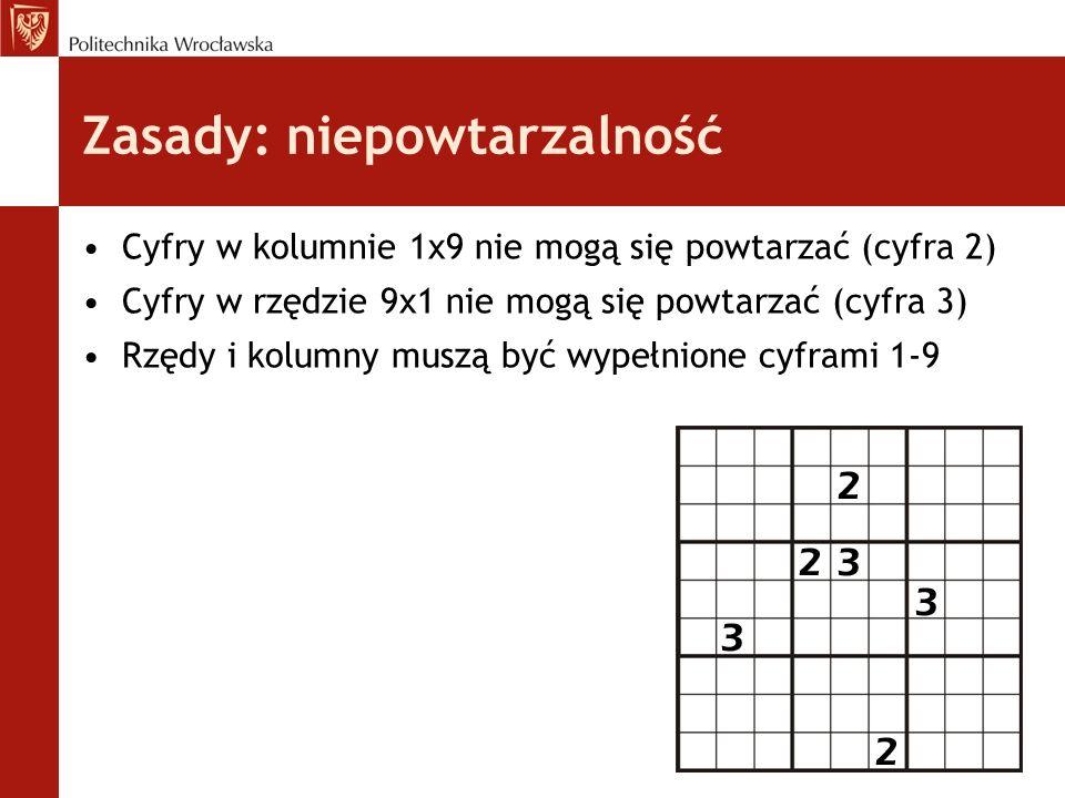 Zasady: niepowtarzalność Cyfry w kolumnie 1x9 nie mogą się powtarzać (cyfra 2) Cyfry w rzędzie 9x1 nie mogą się powtarzać (cyfra 3) Rzędy i kolumny mu