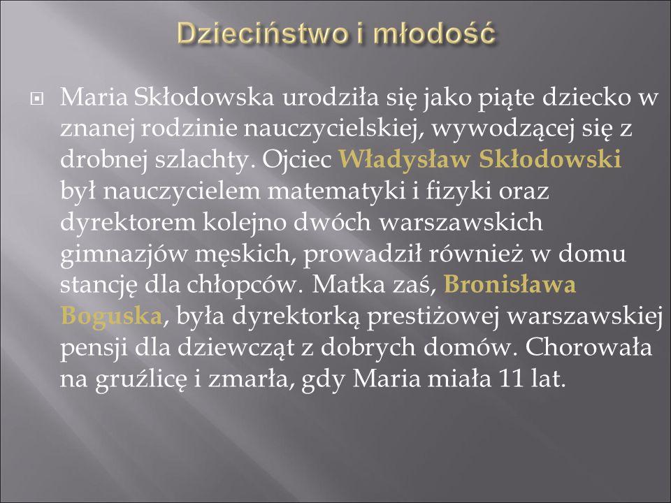 Maria Skłodowska urodziła się jako piąte dziecko w znanej rodzinie nauczycielskiej, wywodzącej się z drobnej szlachty. Ojciec Władysław Skłodowski był