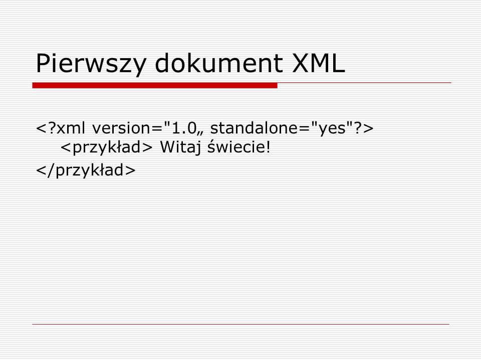 Pierwszy dokument XML Witaj świecie!