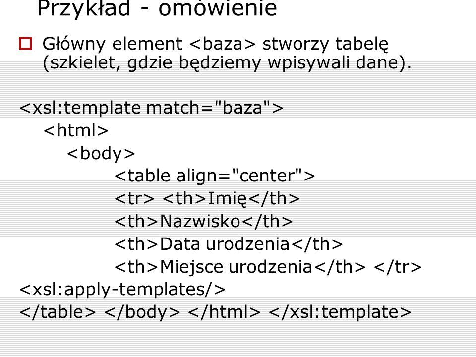 Przykład - omówienie Główny element stworzy tabelę (szkielet, gdzie będziemy wpisywali dane).