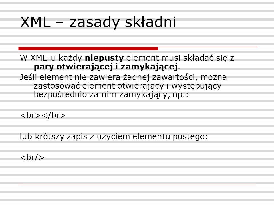 Style CSS a XML - cd Arkusz CSS zawierający zbiory reguł dla trzech elementów dokumentu: dokument { font-family: sans-serif; } h { display: block; font-size: 16pt; font-weight: bold; padding: 10px; } par { display: block; font-size: 10pt; padding: 10px; }