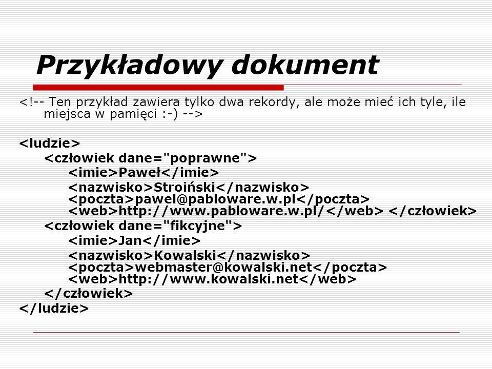 Przykładowy dokument Paweł Stroiński pawel@pabloware.w.pl http://www.pabloware.w.pl/ Jan Kowalski webmaster@kowalski.net http://www.kowalski.net