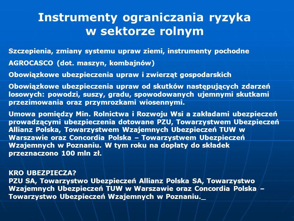 Szczepienia, zmiany systemu upraw ziemi, instrumenty pochodne AGROCASCO (dot. maszyn, kombajnów) Obowiązkowe ubezpieczenia upraw i zwierząt gospodarsk