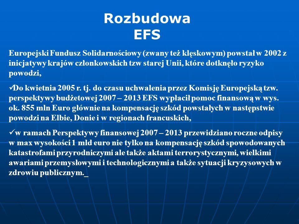 Europejski Fundusz Solidarnościowy (zwany też klęskowym) powstał w 2002 z inicjatywy krajów członkowskich tzw starej Unii, które dotknęło ryzyko powod